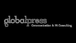 Logo global press, black & white