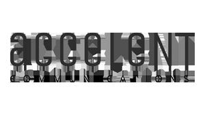 Logo accelent communications, black & white